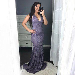 Purple Lace V-Neck Mermaid Long Prom Formal Dress